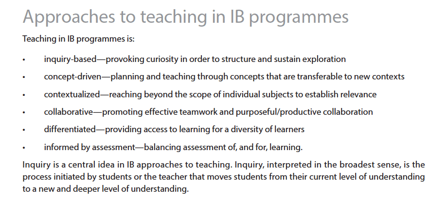 IB MYP Approaches to teaching