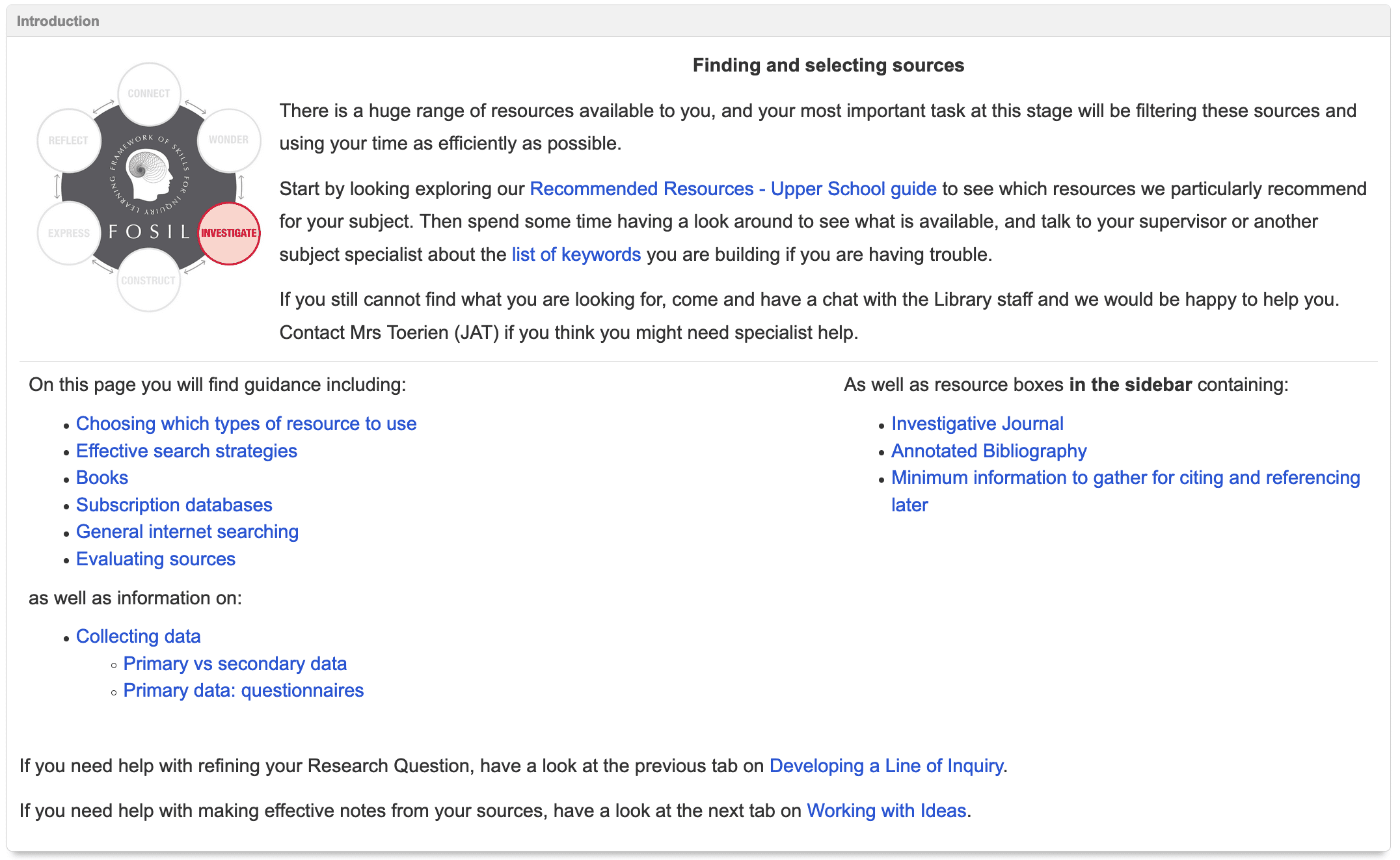 Finding and selecting sources contents list